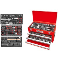 AmPro 118PC 1/4 & 1/2 Drive PRO 3 Drawer Toolbox T47144